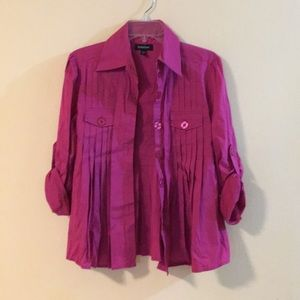 bebe Pleated Button Down Shirt